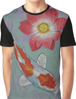 Koi and Lotus Graphic T-Shirt