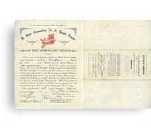 1894 Petition of Companion Harry Willard Bostwick, Mt. Olivet Commandery No.30 Knights Templar Canvas Print