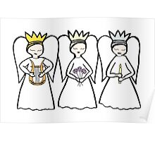 Lyre, Flower, Candle Angels Poster