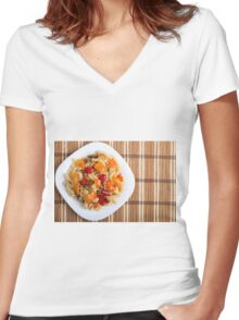 Top view of the Italian pasta on wooden background Women's Fitted V-Neck T-Shirt