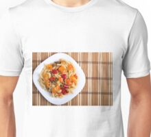 Top view of the Italian pasta on wooden background Unisex T-Shirt