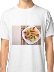 Top view of the pieces of potato stew with vegetables Classic T-Shirt