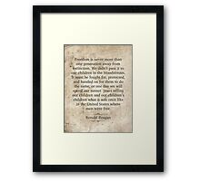 Ronald Reagan Quote Framed Print