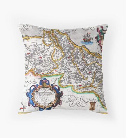 Ancient map of the Kingdom of Portugal - Ortelius Map of Portugal Throw Pillow