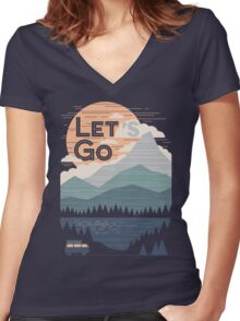Let's Go Women's Fitted V-Neck T-Shirt