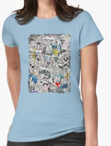 Fun Kamasutra Bodies Figures Doodle in Color Womens Fitted T-Shirt