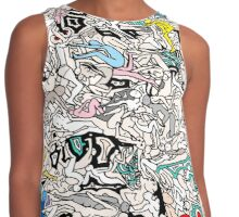 Fun Kamasutra Bodies Figures Doodle in Color Contrast Tank