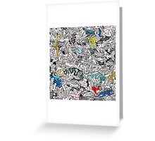 Fun Kamasutra Bodies Figures Doodle in Color Greeting Card