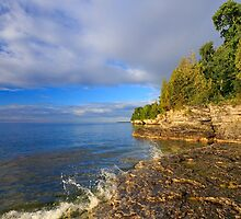 Rocky Coastline at Cave Point by Kenneth Keifer