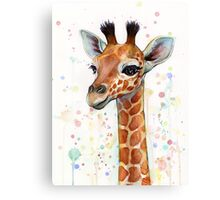 Baby Giraffe Watercolor Painting Canvas Print