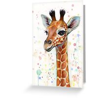Baby Giraffe Watercolor Painting Greeting Card