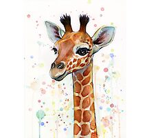 Baby Giraffe Watercolor Painting Photographic Print