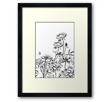black and white peonies painting Framed Print