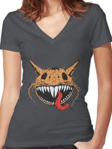 Crazy Cat-Astrophic Cartoon Cat Women's Fitted V-Neck T-Shirt