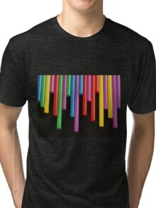 Red Yellow blue and Green strays Tri-blend T-Shirt