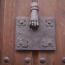 Brass hand door knocker, hand of fatima by sledgehammer