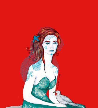 Meerjungfrau in rot Sticker