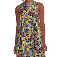 Colorful Watercolor Floral Garden on Black Background A-Line Dress