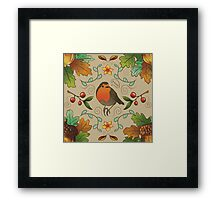 Autumn Robin Pattern Framed Print