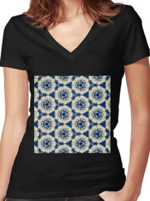 Blue Pattern Women's Fitted V-Neck T-Shirt