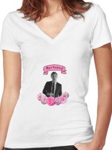 Ross Marquand Flower Design Women's Fitted V-Neck T-Shirt