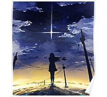 Girl Looking At The Night Sky Poster