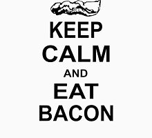 Keep Calm and Eat Bacon Funny Parody Meat Food Pig Hog Breakfast Men's Baseball ¾ T-Shirt