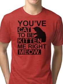 YOU'VE CAT TO BE KITTEN ME RIGHT MEOW Funny Animal Lovers Cats Feline Tri-blend T-Shirt