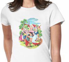 Vintage Dutch Girls & Boys Retro Holland Windmill Illustration Womens Fitted T-Shirt
