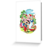 Vintage Dutch Girls & Boys Retro Holland Windmill Illustration Greeting Card
