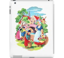 Vintage Dutch Girls & Boys Retro Holland Windmill Illustration iPad Case/Skin