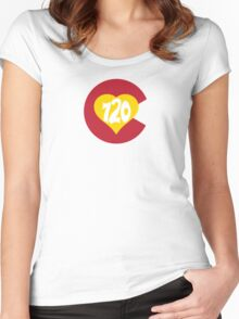 Hand Drawn Colorado Heart Flag 720 Area Code Women's Fitted Scoop T-Shirt