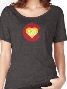 Hand Drawn Colorado Heart Flag 720 Area Code Women's Relaxed Fit T-Shirt