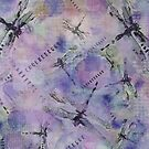 Dragonflies Bluish Purple by Betsy  Seeton