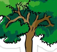 Tree Hugger - Wooden Text & Tree  Sticker