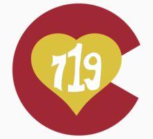 Hand Drawn Colorado Heart Flag 719 Area Code Kids Tee