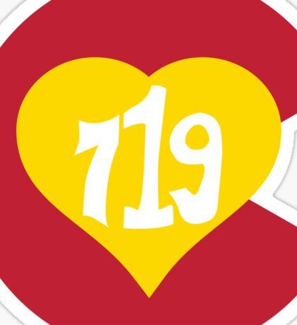 Hand Drawn Colorado Heart Flag 719 Area Code Sticker