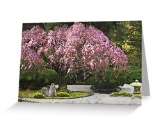 Cherry Blossoms in a Japanese Garden Greeting Card