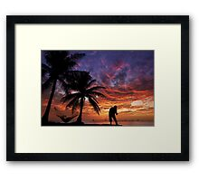 Sunset Fishing Framed Print