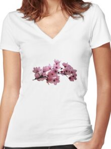 Cherry Blossoms on a Branch Women's Fitted V-Neck T-Shirt