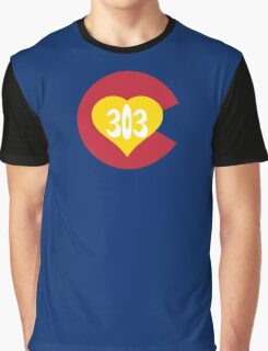 Hand Drawn Colorado Heart Flag 303 Area Code Graphic T-Shirt