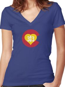 Hand Drawn Colorado Heart Flag 303 Area Code Women's Fitted V-Neck T-Shirt