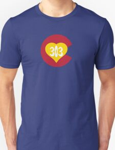 Hand Drawn Colorado Heart Flag 303 Area Code Unisex T-Shirt