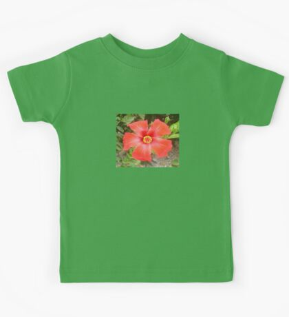 Head On Shot of a Red Tropical Hibiscus Flower Kids Tee