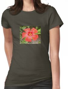 Head On Shot of a Red Tropical Hibiscus Flower Womens Fitted T-Shirt