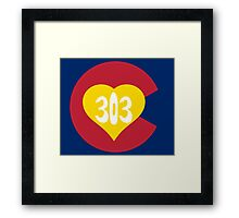 Hand Drawn Colorado Heart Flag 303 Area Code Framed Print