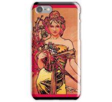 Nouveau Woman with Orange Bouquet iPhone Case/Skin