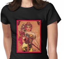 Nouveau Woman with Orange Bouquet Womens Fitted T-Shirt