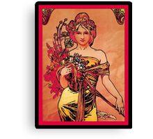 Nouveau Woman with Orange Bouquet Canvas Print