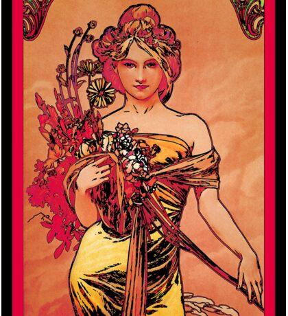 Nouveau Woman with Orange Bouquet Sticker